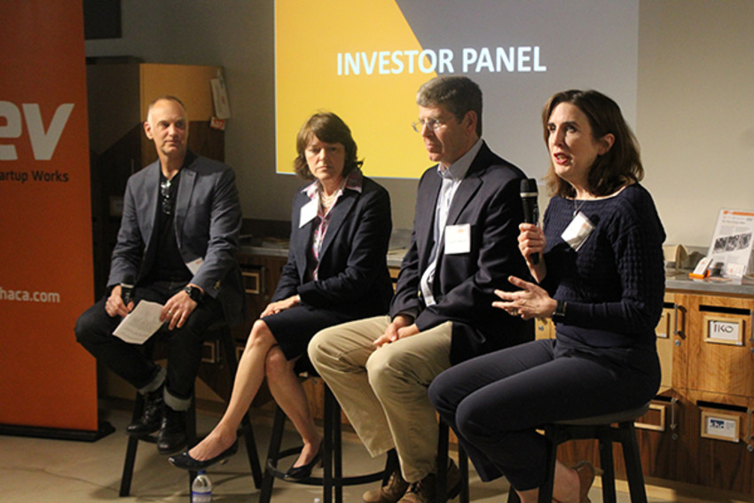 Photo by Jamie Swinnerton.The investor panel. From left to right: moderator Jason Salfi, Marnie LaVigne, Clayton Besch, and Jennifer Tegan.