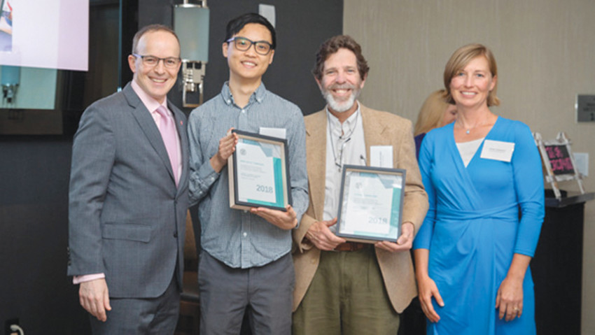 Photo provided by Cornell University.Recognized with this year's Cornell University Partners in Sustainability Award were Ithaca Carshare and Bike Walk Tompkins. From left to right, Joel Malina, Cornell University Vice President for University Relations, Hector Chang, Active Transportation Coordinator for Bike Walk Tompkins, Fernando deAragon, President of the Board for Ithaca Carshare, and Sarah Zemanick, Cornell University Director of Sustainability