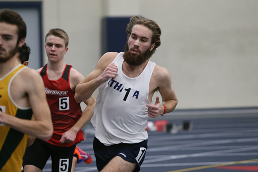 Photos by Tim. McKinney, Ithaca College AthleticsSam Ives competes during his recent indoor season.