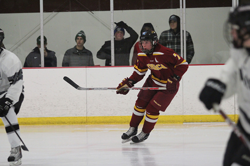 Photo provided by Jitae Kim.Michael Sornberger, number 7, takes to the ice.