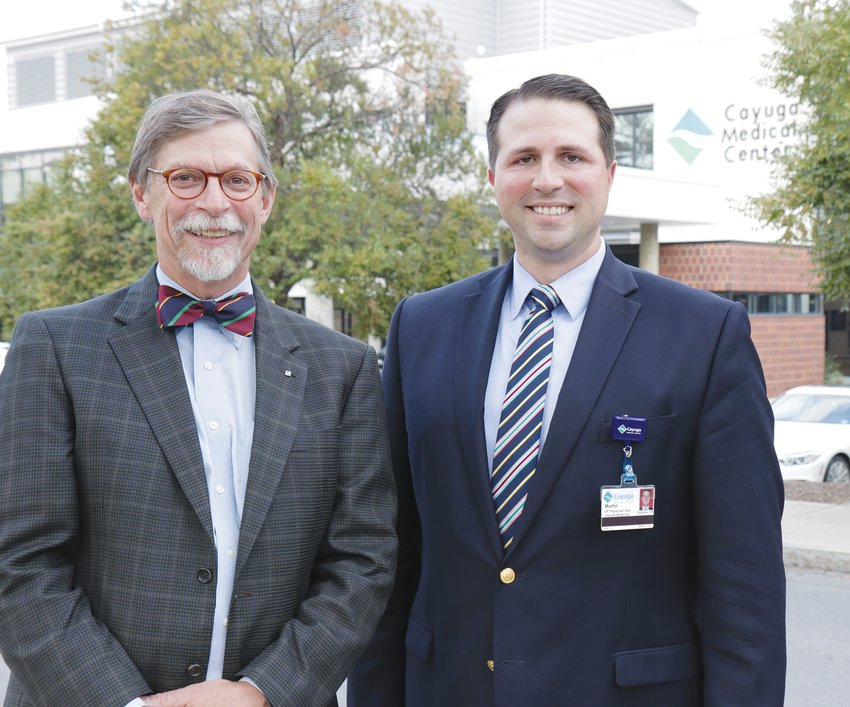 John Rudd, left, announced last week that he plans on retiring in the fall of next year. Cayuga Medical Center has already announced Martin Stallone, right, to succeed Rudd as the health care operation's new CEO.