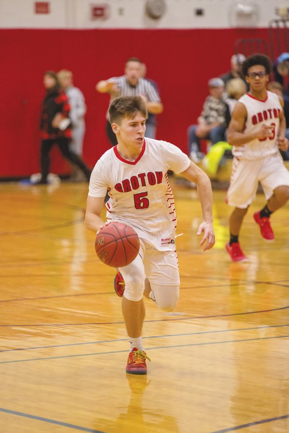 Groton's Garrett VanBenschoten charges forward against Southern Cayuga. VanBenschoten, a junior, looks to lead the young Indians offense.