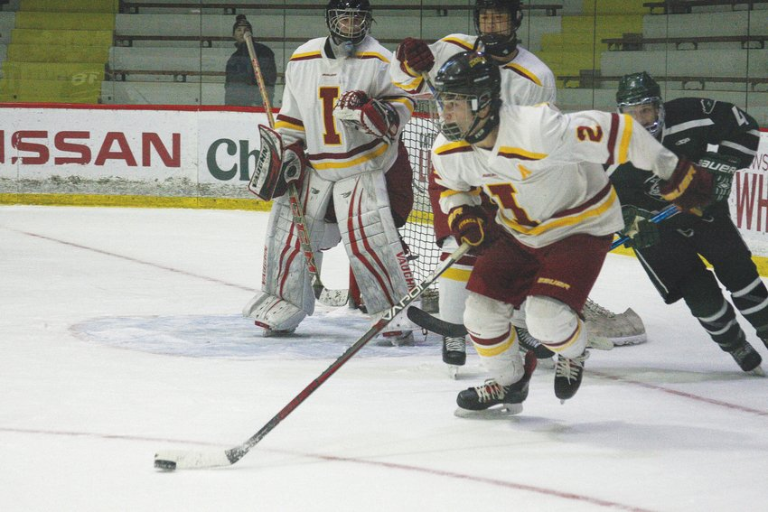 Ithaca's Jack Duthie leads the Little Red by example, showcasing his ability to transition from defense to offense and generate blue-line chances for the offense.