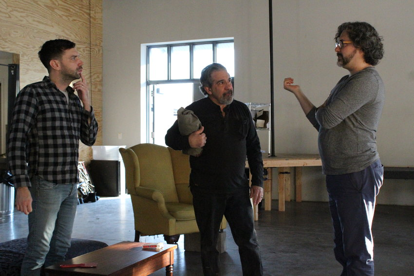 "Samuel Buggeln, far right, directs actors Karl Gregory, left, and Eric Brooks, middle, during a recent rehearsal for The Cherry's upcoming production of ""Testosterone."" With recent grant money, Buggeln's position can now be full-time, salaried."