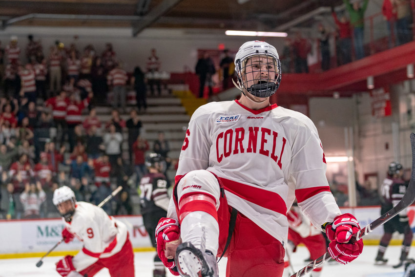 Forward Tristan Mullin celebrates a power-play goal in Cornell's game three win over Union on Sunday. The Big Red won the series 2-1 despite losing the opening contest.