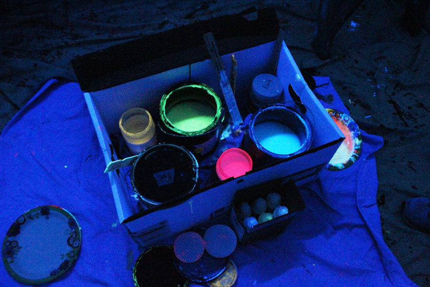 The blacklight paint that Ihnken uses isn't like other paint. It's much easier and more difficult to mix.