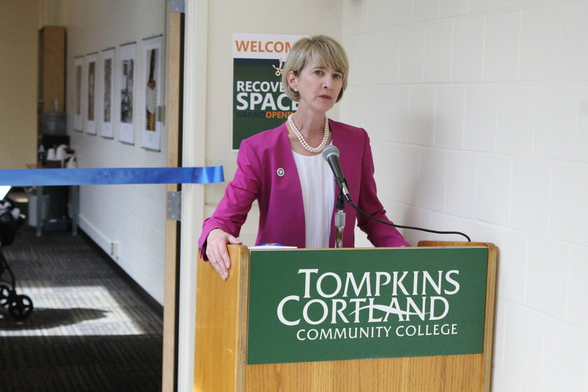 SUNY Chancellor Kristina Johnson makes her opening remarks at the ribbon cutting for the new TC3 Recovery Space.