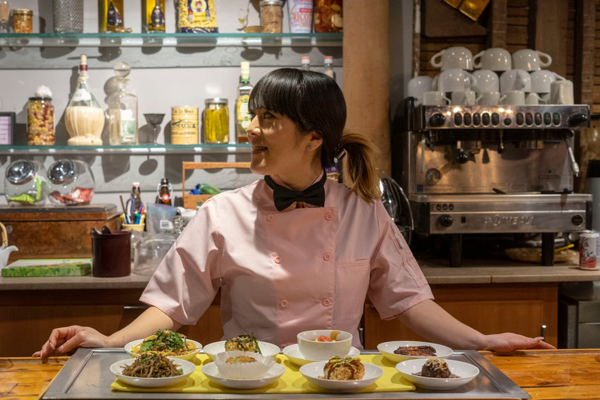 Executive Chef Yuko Jingu serving izakaya (casual Japanese-style tapas) at The Hotel Groton.