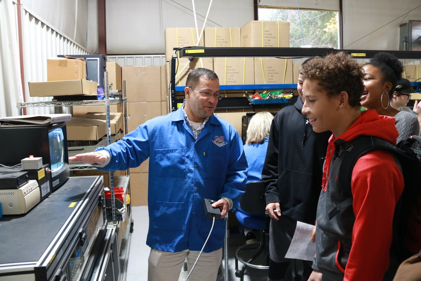 During a TST P-TECH Academy field trip to C&D Assembly Inc. in Groton. The students are, left to right: Malachi Eschler, Julian Pettaway (foreground), Sindiswa Pinckney, The're'sa Murray.