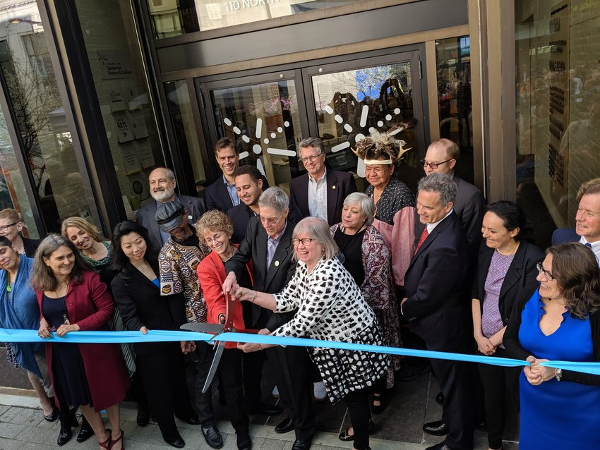 After a presentation of speeches from the many players that got the project off the ground, the ribbon was cut on the new Tompkins Center for History and Culture in bank alley on the Commons.