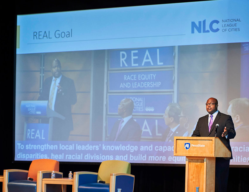 Leon Andrews from the National League of Cities spoke at the 2019 International Town & Gown Association on social justice and civility.