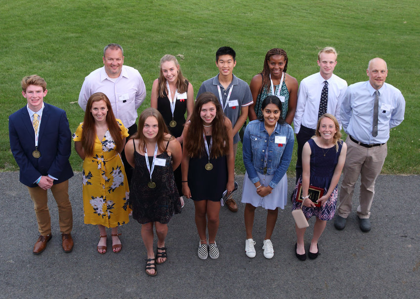 Back row, from left to right: IHS Girls Lacrosse coach BJ Bliss; Seneca Blakely-Armitage, Felix Shi, Kalena Yearwood, Carter Anderson, and Mike Blakely-Armitage.   Front row, from left to right: Michael Sornberger; swim coach, Amy Zimmerman; Julianna Saggese, Kiely Howe, Asha Duhan, and Holly Norsen.