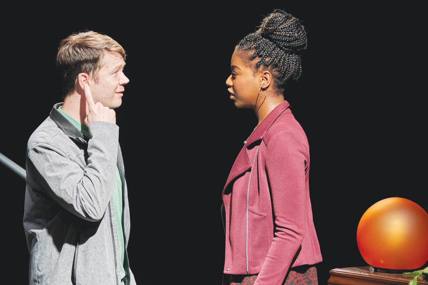 """James Caverly (left) and Jasmine Carmichael (right) star in Kitchen Theatre's production of """"Tribes,"""" the story of a Deaf teen that learns ASL for the first time, which many sources discussed in their interviews."""