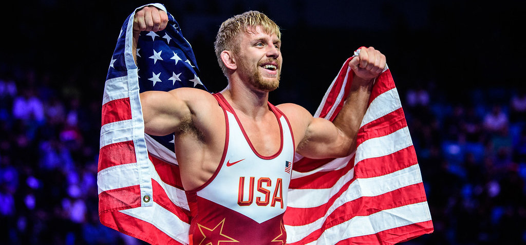 Lansing native Kyle Dake celebrates after winning his second consecutive World Wrestling Championship.