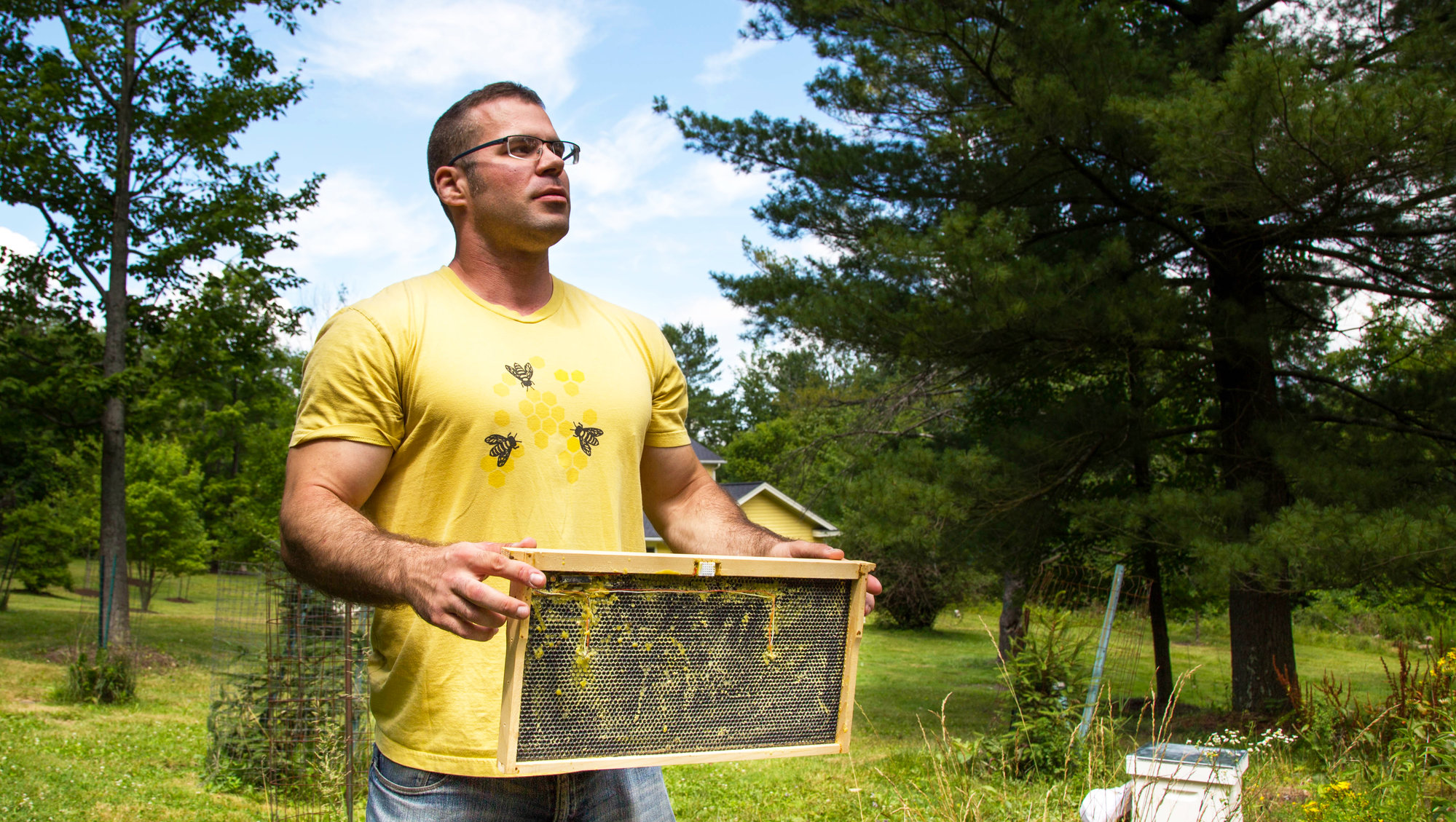 Nathan Oakes, above, is co-owner of Combplex, an Ithaca-based startup that has created a technological pest-control solution for honeybee colonies. Combplex is one of four Ithaca startups included in the 18 finalists of this year's Grow-NY competition.