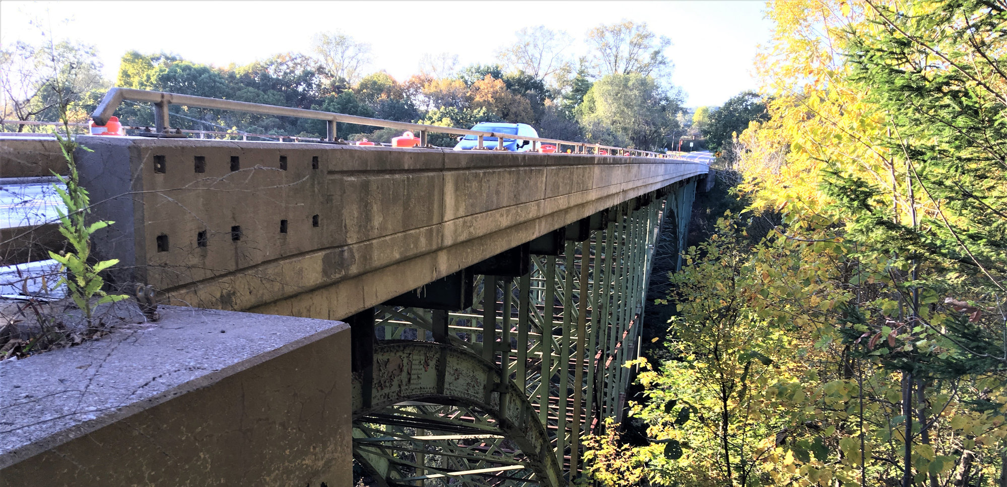 "Alternating one-way traffic on the Route 34B bridge over Salmon Creek will continue for ""about a month,"" according to Lansing County Legislator Mike Sigler."