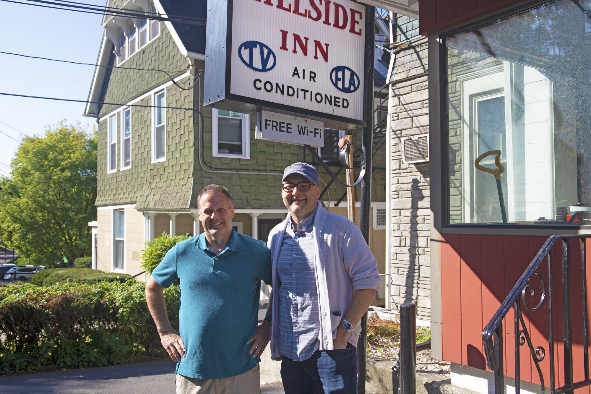 Gary Bush (left), owner of SPEC Consulting in Groton, with Robert Poprawski (right), owner of the upcoming Dorm Hotel at the old Hillside Inn site on Stewart Avenue in Ithaca. The two are working to bring a luxury-budget hotel to collegetown.