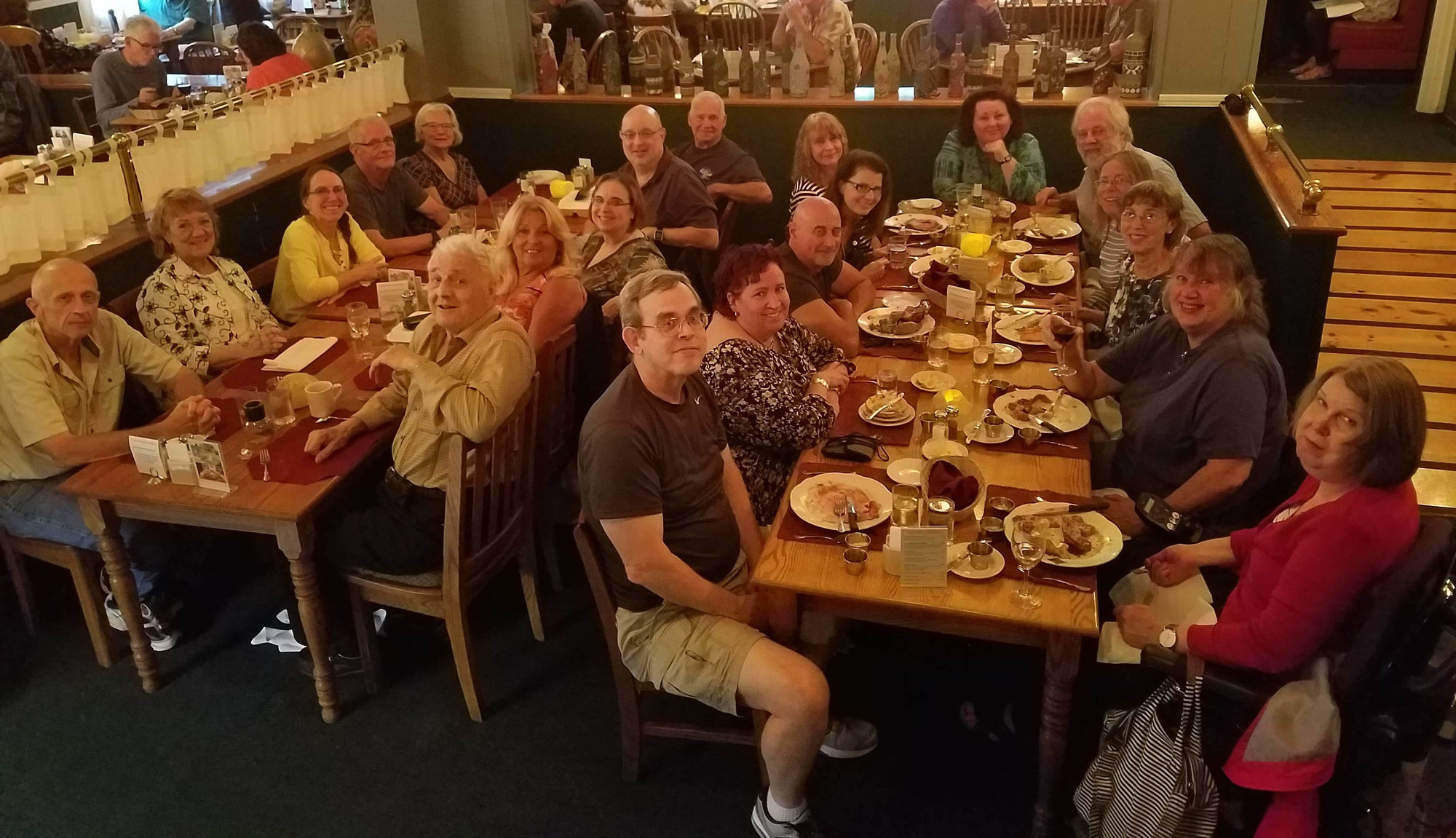 The Ithaca Sociable Singles group at one of its weekly dinners. The group, and others like it, can be a great way for seniors to socialize and meet new people, whether that's to date or to simply make friends.