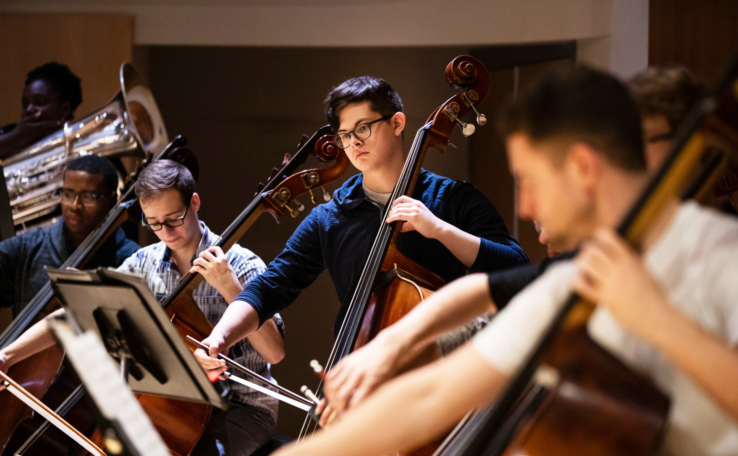 Ithaca College students perform during an orchestra rehearsal in 2018. Those interviewed cited IC as a strong source of arts for the surrounding community, helping to create a multi-cultural atmosphere that all Ithacans can enjoy.