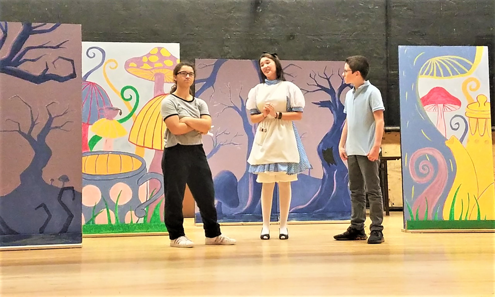 "(Left to right) ""Alice@Wonderland"" student actors Olivia Townsend, Megan Cute and William Brehm. Townsend and Brehm each play The Cheshire Cat in different scenes and are seen here running lines with ""Alice"" during rehearsal."