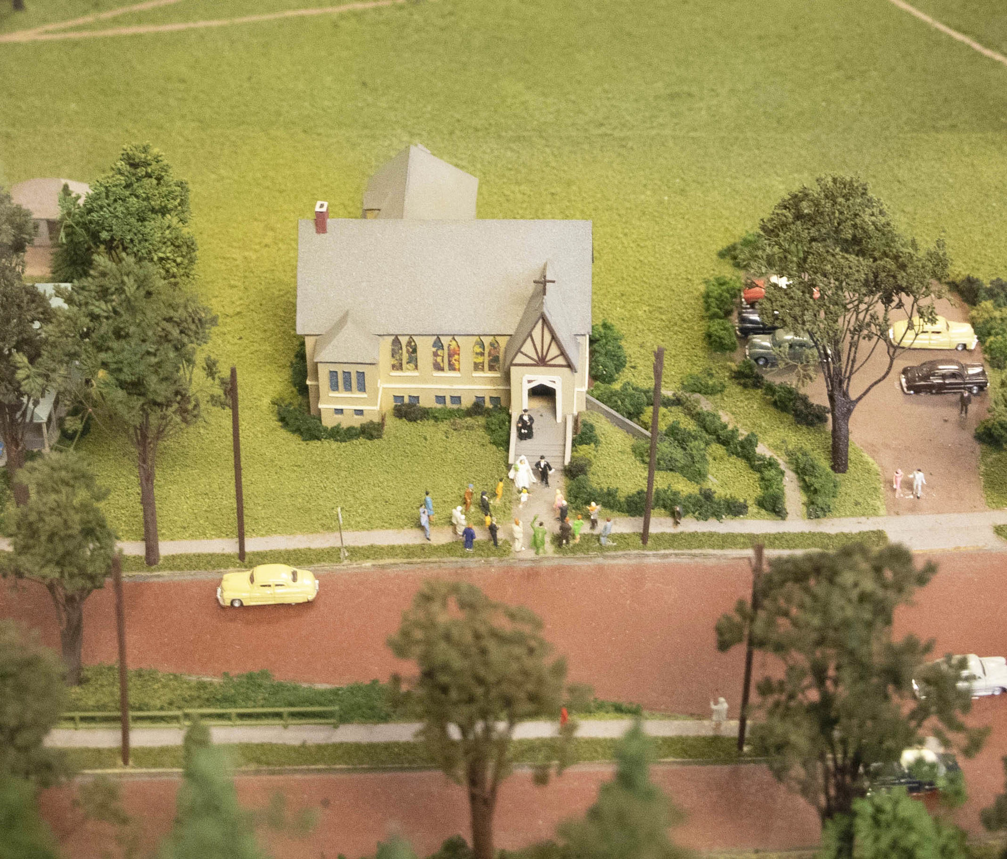 Back in 1960, the Beebe Chapel (above) was located at the current start of Cliff Street (Route 96). David Fogel recreated a wedding scene when crafting his model.
