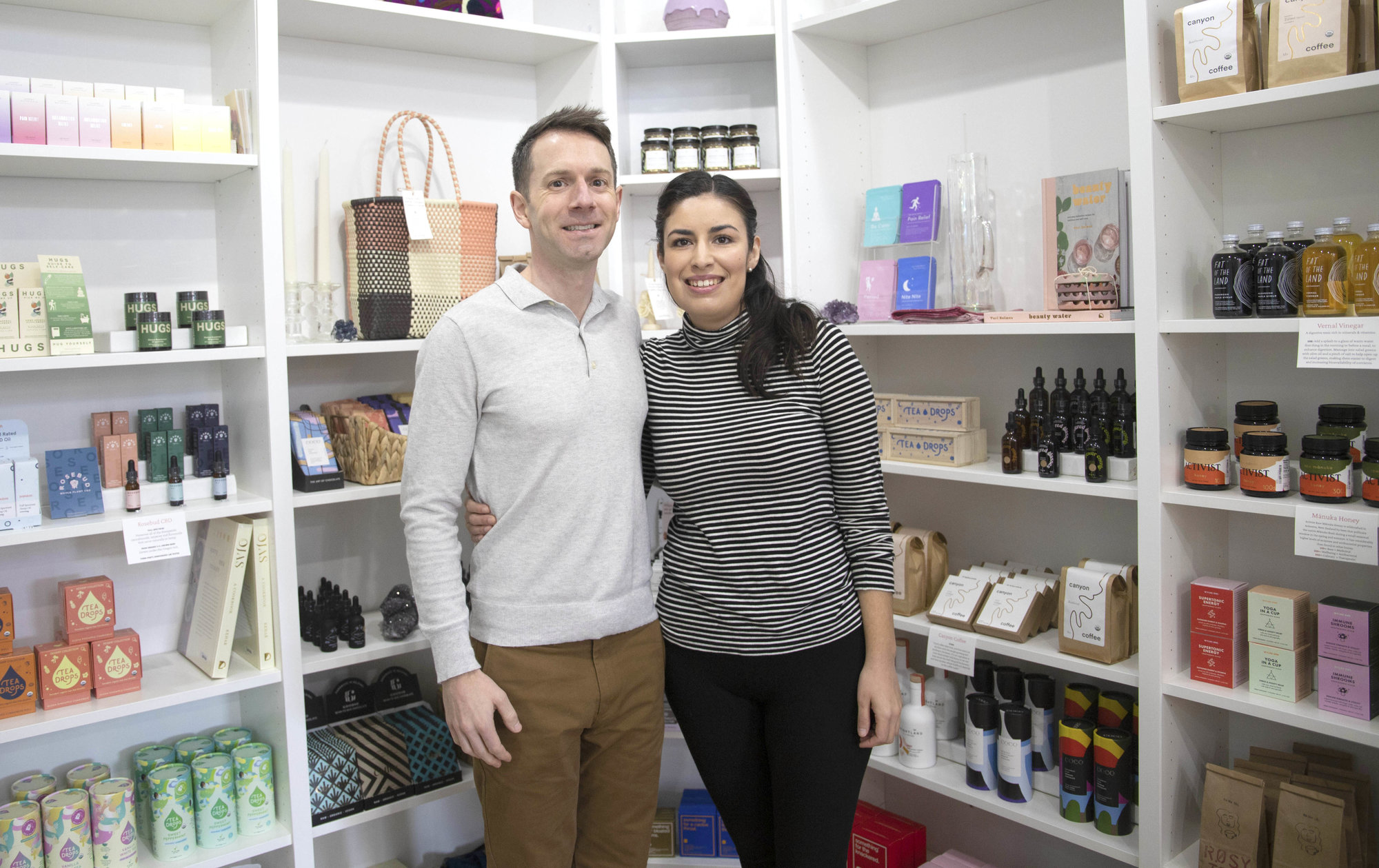 The Bloomwell owners Zach Wasmer (left) and Johanna Baena bring all-natural products to downtown Ithaca.