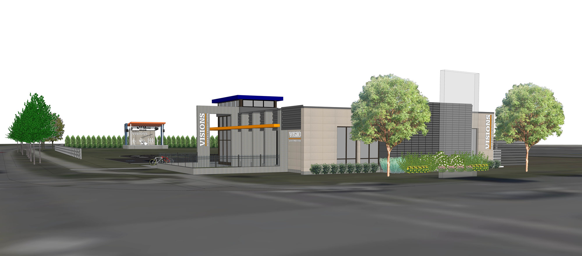 A rendering of Visions Federal Credit Union's new building, an expansion planned for Ithaca. VFCU, based in Binghamton, is expanding to Tompkins County and adding an ampitheatre. The project is set to be complete by the send of the summer.