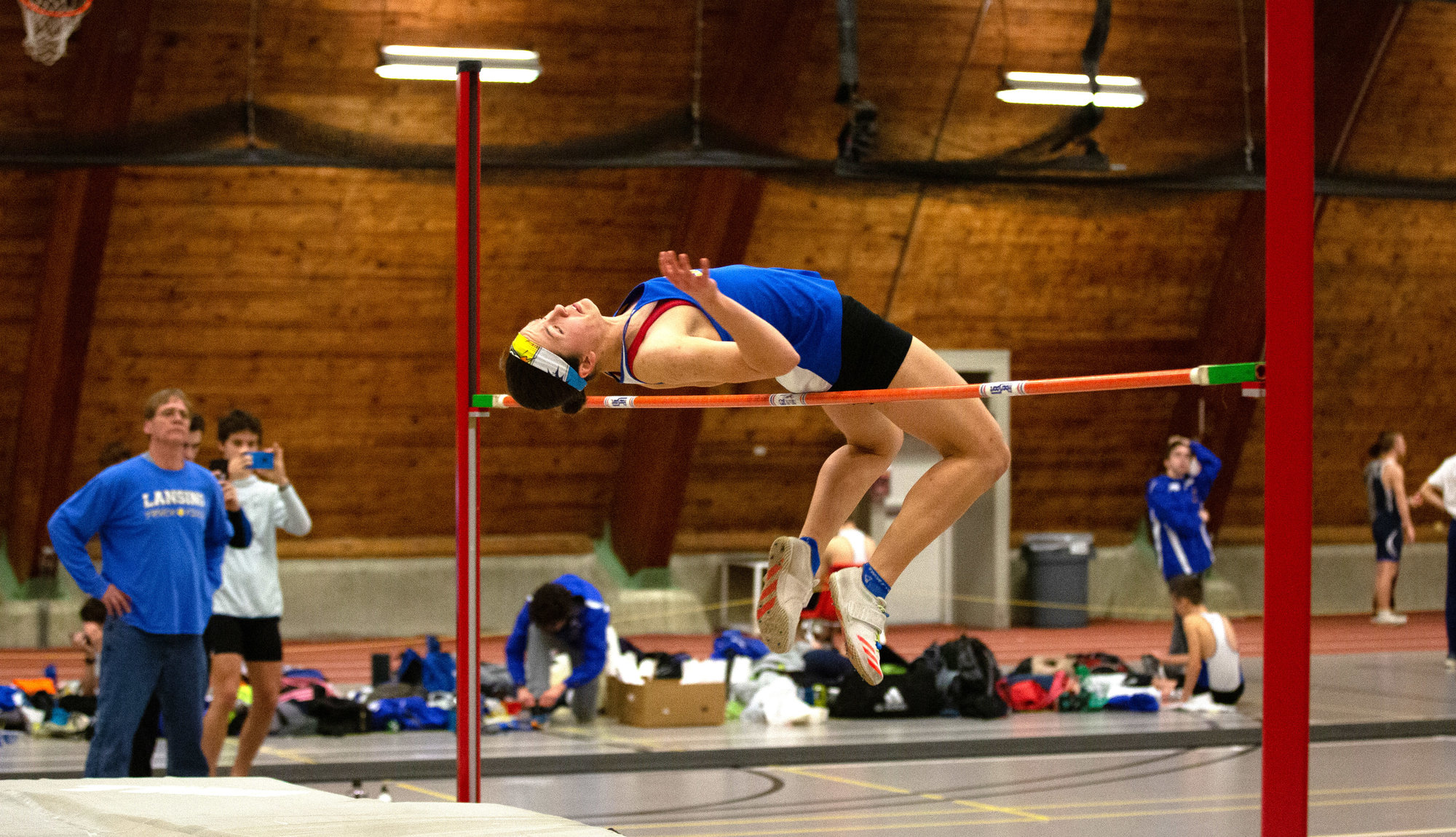 "Catalina Zaloj clears a 5'7"" high jump at the Hurley Invitational on Jan. 24. The height is the highest recorded in New York state this season."