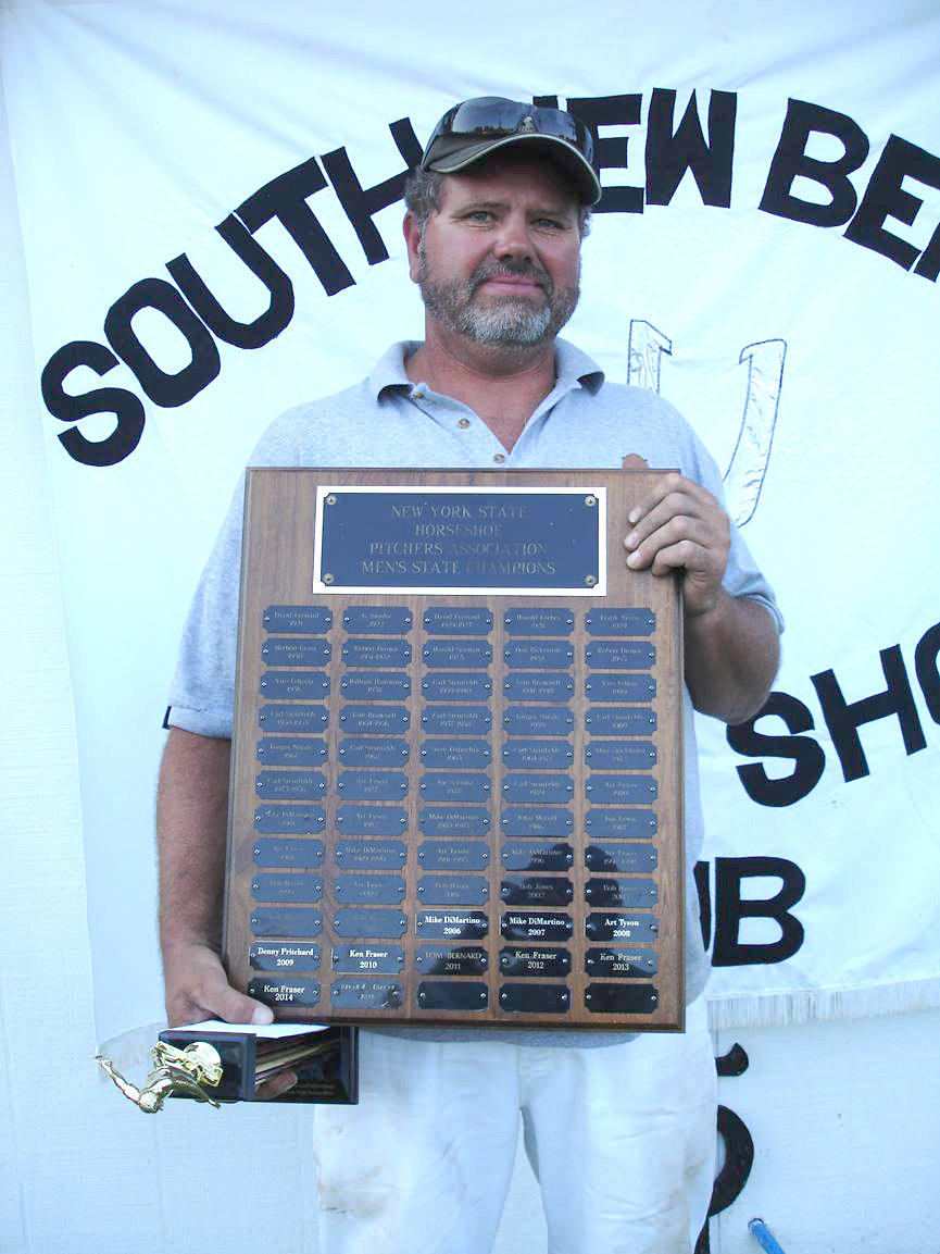 Eric Conrad celebrates his first New York State Championship in 2016. He went on to win the following year and has been the tournament director for Groton's Tri-County Horseshoe Club for over a decade.