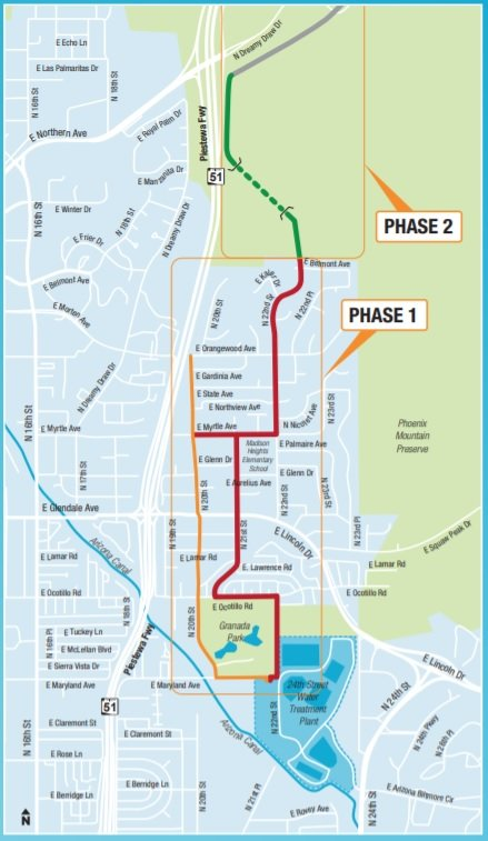 A map shows the current alignment for the Phoenix water main. (Map by City of Phoenix)