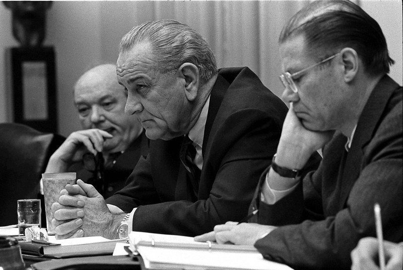 President Lyndon B. Johnson, center, leans over the table meeting in the Cabinet Room in the White House in Washington, D.C. in 1968. In 1954, as a senator from Texas, Mr. Johnson introduced the Johnson Amendement, which that prohibits all 501(c)(3) non-profit organizations from endorsing or opposing political candidates. [Submitted photo/LBJ Presidential Library]
