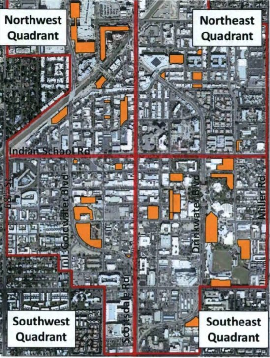 A graphic by City of Scottsdale officials shows public parking lots and structures in Old Town Scottsdale.