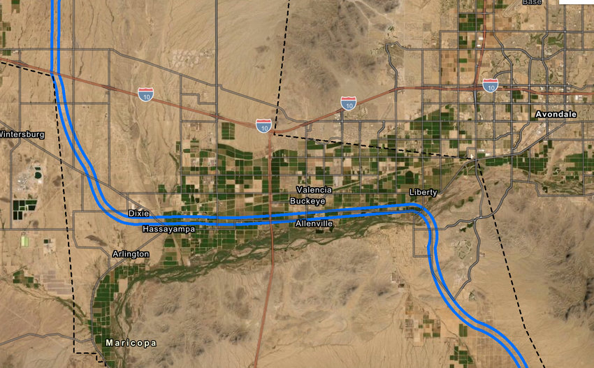 A closer up map shows where the proposed Interstate 11 could run through the West Valley, including Buckeye and Goodyear.