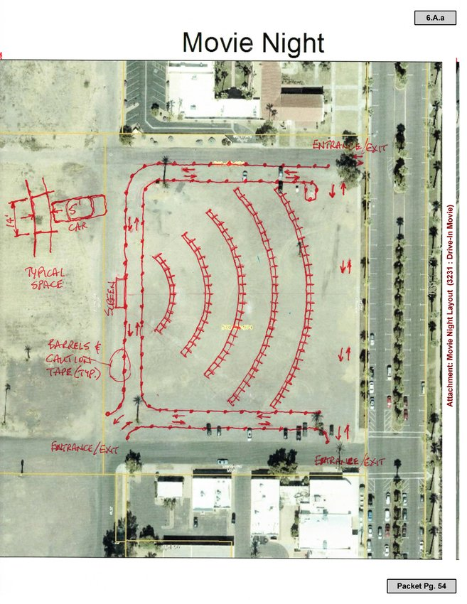 This image shows the proposed layout for Litchfield Park's drive-in movie event.