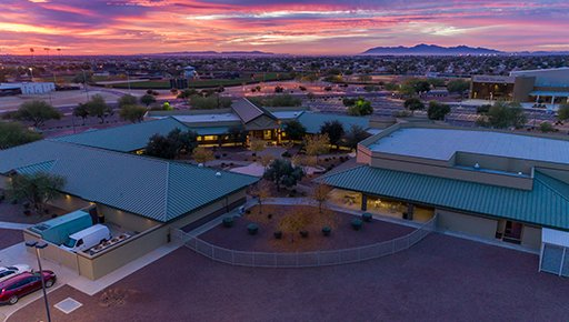 The Dysart Unified School District offices in Surprise at sunset.