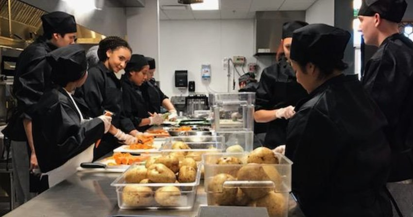 Deer Valley Unified School District student chefs work on creations in Avenue 27 at Barry Goldwater High School in Phoenix. [Submitted photo]