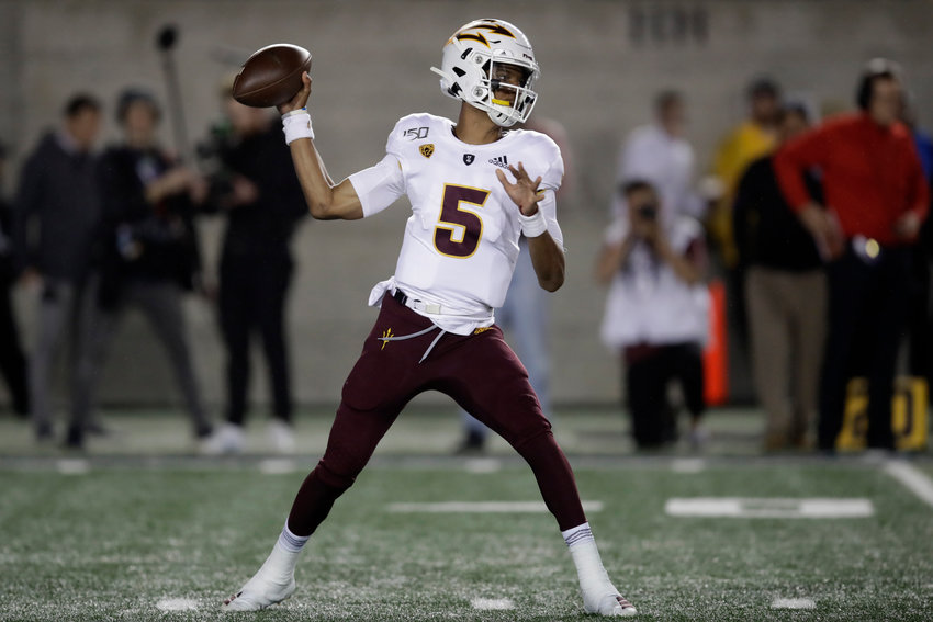 Arizona State quarterback Jayden Daniels passes against California in the first half of an NCAA college football game, Friday, Sept. 27, 2019, in Berkeley, California.