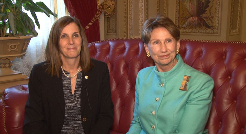 Sen. Martha McSally, R-Ariz., left, backed the nomination of Arizona businesswoman Barbara Barrett to be secretary of the Air Force. Tne Senate confirmed the nomination 85-7, which will make Ms. Barrett the fourth female Air Force secretary.