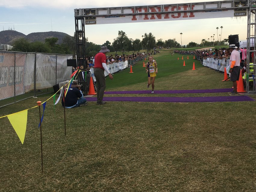Sunrise Mountain sophomore Kaitlyn Kaye finishes her first state cross country race at fifth place in Division II.