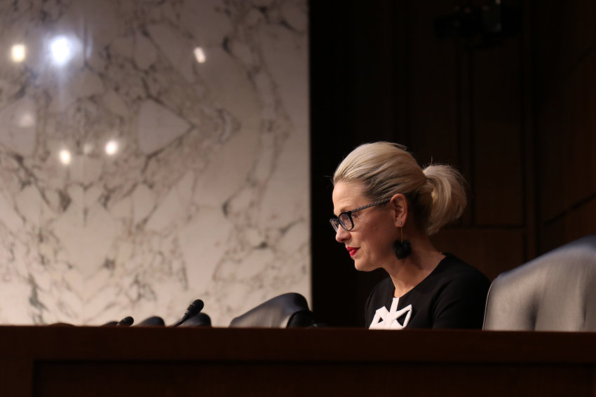 Sen. Kyrsten Sinema, D-Arizona, in a 2019 file photo, is backing a bill that could help more people experiencing homelessness.