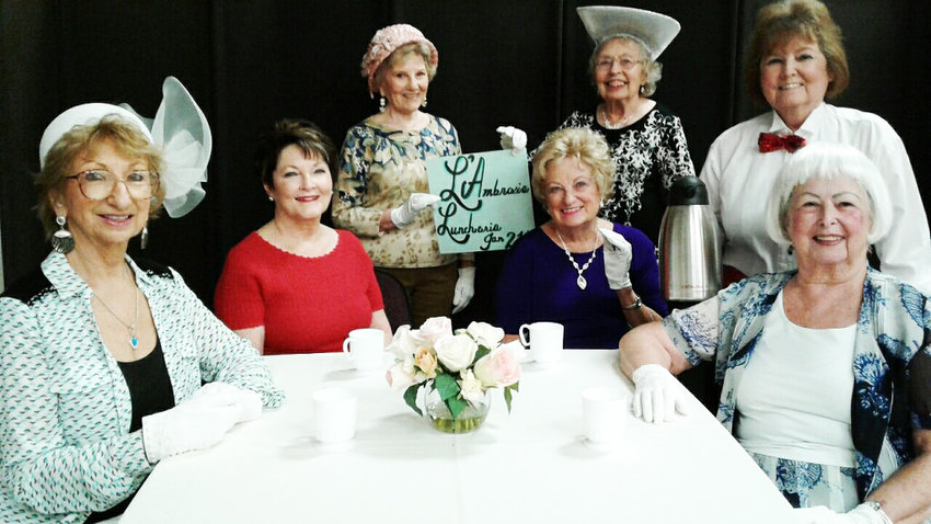From left, seated, are Theatre West Club members Shirleyann Fautheree, Peggy Robbins, Toni Tucker and Melody Whelan. Standing, from left, are Marcia Seidner, Carol Shea and Linda Hicks. Valerie Griffin is not pictured.