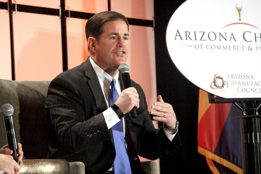 Arizona Gov. Doug Ducey speaks during the Arizona Chamber of Commerce and Industry's annual legislative forecast luncheon Friday, Jan. 10, 2020 in Phoenix.