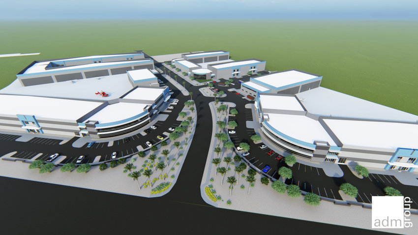 An architect's rendering of the 23-acre development of aircraft hangars at Falcon Field Airport.