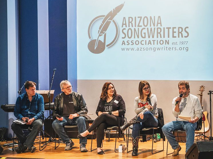 The 2019 Arizona Songwriters Gathering panel featured Steve Parrish, Jon Iger, Shelly LeBash, Rhonda Hitchcock-Mast and Randy Brown.