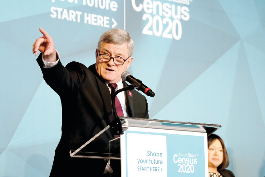 U.S. Census Bureau Director Steven Dillingham unveils the agency's national advertising and outreach campaign for the 2020 Census on Tuesday at the Arena Stage in Washington, D.C.