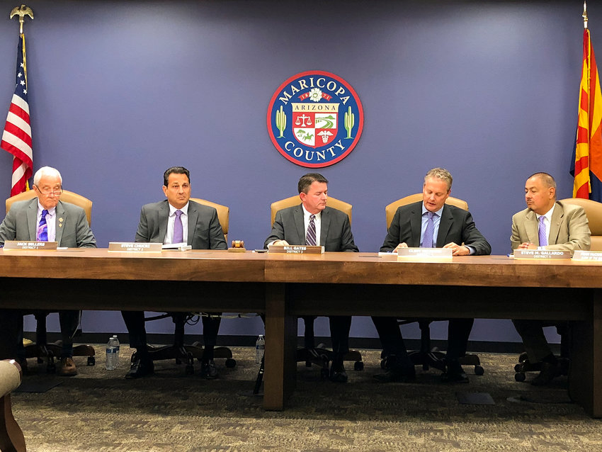 The Maricopa County Board of Supervisors at a meeting in Phoenix Oct. 23, 2019.