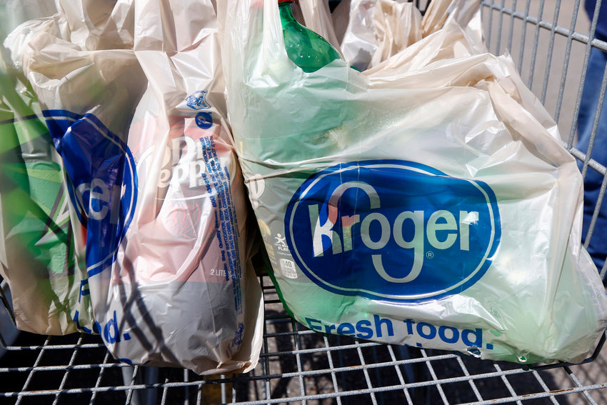 Bagged purchases from the Kroger grocery store in FLowood, Mississippi sit inside a shopping cart Thursday, June 15, 2017.