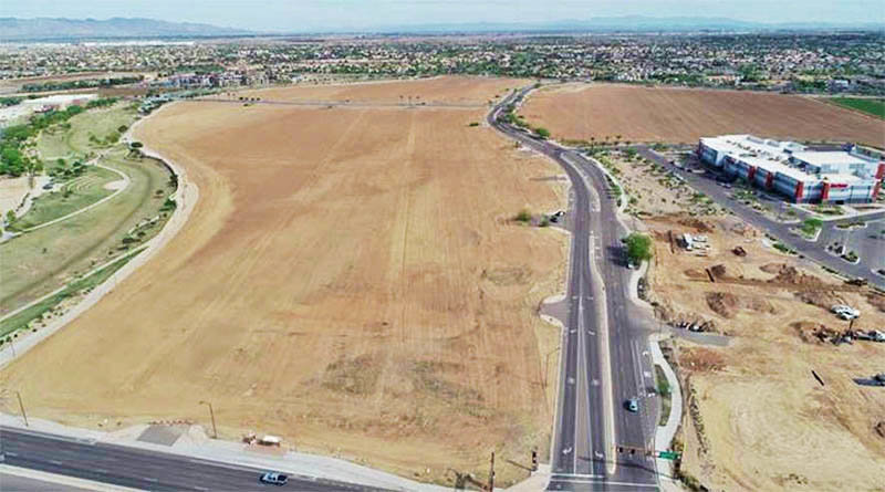 This aerial photo shows the future site of the Civic Square at the northwest corner of McDowell Road and 150th Drive. The Civic Square will include a new City Hall, a new library, a two-acre park for festivals and retail and office space. 2020 is a planning stage for the project. The park will be completed by Fall 2021 and the entire project will be completed by Summer 2022. [Submitted photo]