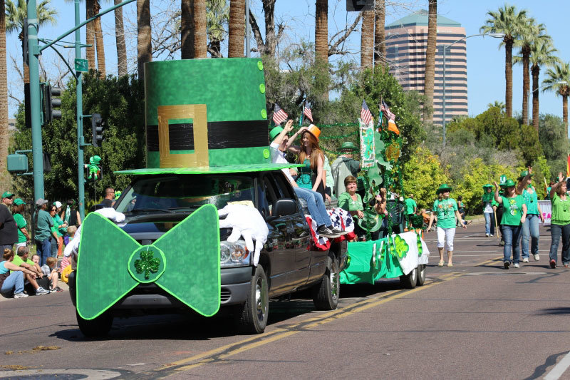 March 14 - PHOENIX: 37th Annual St. Patrick's Day Parade & Irish Family Faire - Parade on 3rd Street at 10 a.m. with pipe bands, marching bands, floats, Irish step dancers. Faire follows parade at Margaret T. Hance Park until 6 p.m. Three stages of Irish music and dancers, crafts, genealogy, Irish clubs, kids area. $12. 602-280-9221 or https://stpatricksdayphoenix.org.