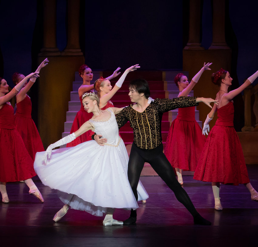 Cinderella is choreographed by Kellan Meko and features Zoe Hunter as Cinderella, Maddie Dennison as the Fairy Godmother, Jenna Wudel as Stepsister Maude, Kendyll Haught as Stepsister Myrtle and Fan Shi as The Prince.
